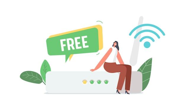Minúscula personagem feminina sentada em frente ao enorme roteador wifi usando uma conexão gratuita de internet sem fio