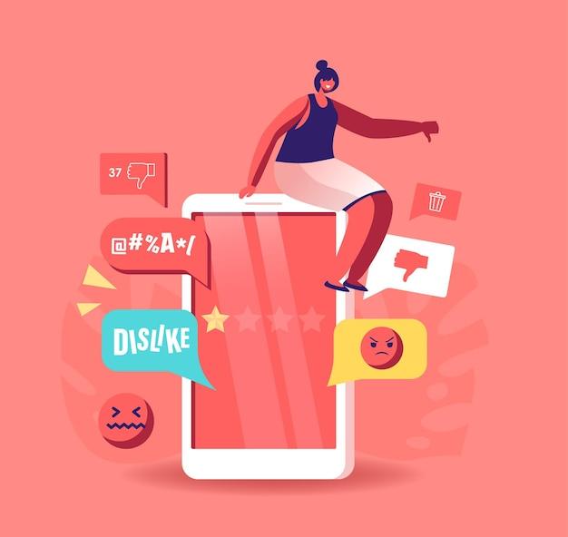 Minúscula personagem feminina sentada em um enorme smartphone, intimidação e trollagem on-line no bate-papo