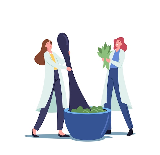 Minúsculas personagens femininas farmacêuticas moem plantas e ingredientes naturais em um enorme almofariz para fazer remédios tradicionais ou remédios ayurvédicos de ervas e plantas naturais. ilustração em vetor de desenho animado