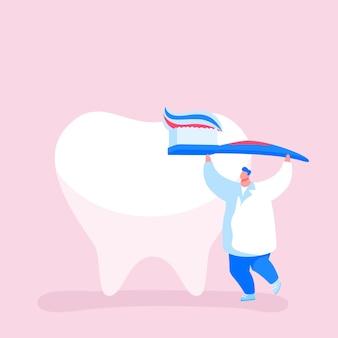 Minúsculo dentista médico caráter cuidado com a enorme escova dentária