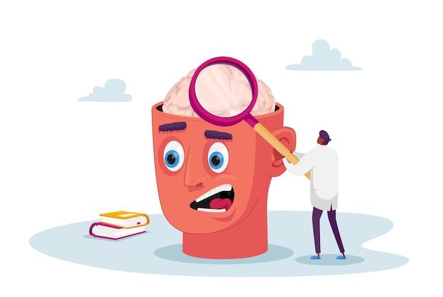 Minúsculo doutor personagem com enorme lupa, aprendendo cérebro humano doente