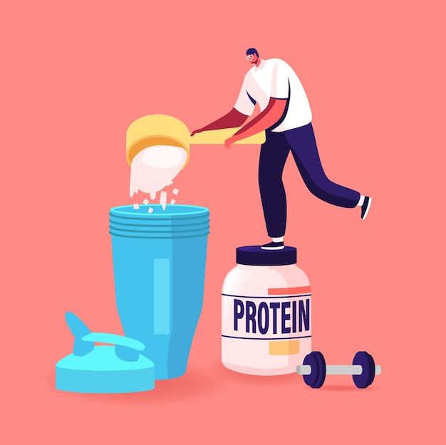 Minúsculo personagem masculino despeje proteína em pó para fazer coquetéis no shaker na academia