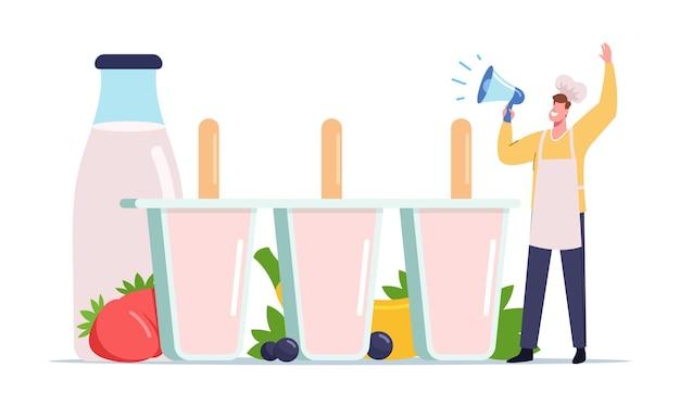 Minúsculo personagem masculino no chef toque grite ao megafone chamada para experimentar sorvete caseiro feito de frutas frescas, frutas vermelhas e iogurte