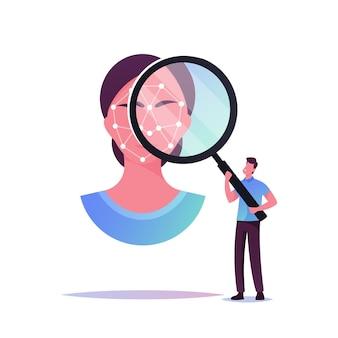 Minúsculo personagem masculino olhando através de uma enorme lupa no rosto de uma mulher