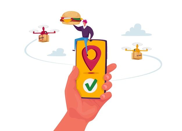 Minúsculo personagem masculino sentado em um enorme smartphone recebe pedidos de comida entregando com drone por via aérea