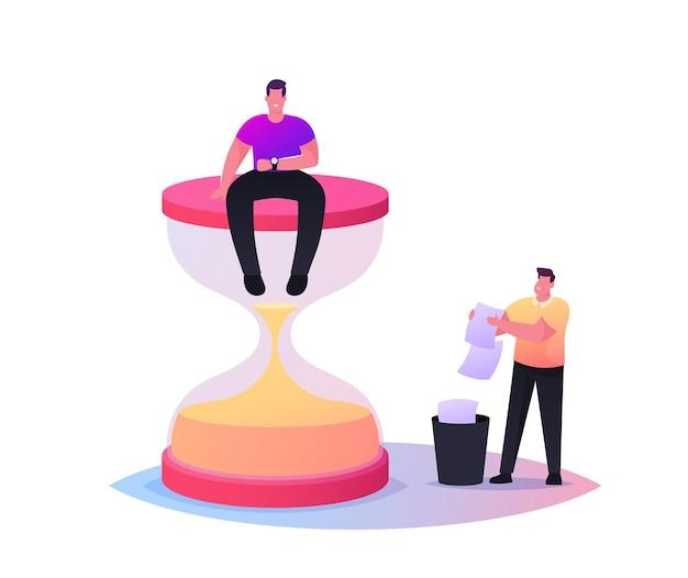 Minúsculo personagem masculino sentado em uma enorme ampulheta olhando para o relógio de pulso,