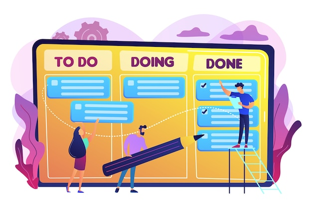 Minúsculos empresários e gestores no gráfico de cumprimento de tarefas e metas. gerenciamento de tarefas, ferramenta de gerenciamento de projetos, conceito de software de gerenciamento de tarefas. ilustração isolada violeta vibrante brilhante
