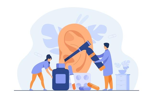 Minúsculos médicos tratando ou examinando a orelha dos pacientes, usando ferramentas de otologia, carregando frascos e bolhas com comprimidos. ilustração vetorial para otorrinolaringologia, saúde, conceito de perda auditiva