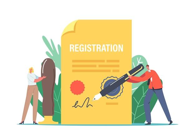 Minúsculos personagens com enorme caneta de pena e carimbo do selo assinando documento em papel para registro de nova empresa. formulário de abertura de negócios, procedimento de construção de identidade de marca. ilustração em vetor desenho animado