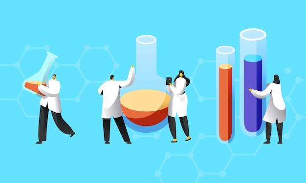 Minúsculos personagens de cientistas em jalecos brancos realizam experimentos em laboratório de ciências.