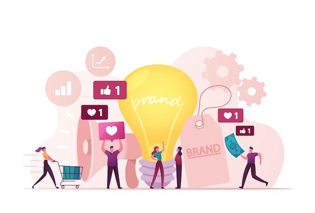 Minúsculos personagens de profissionais de marketing com enorme megafone e lâmpada realizando campanha de conscientização da marca.
