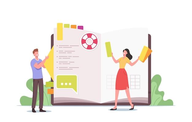 Minúsculos personagens femininos masculinos no enorme diário escrevendo notas, planejando negócios, preenchendo a lista de tarefas, coloque adesivos e imagens no organizador, caderno para memória ou mensagens. ilustração em vetor desenho animado