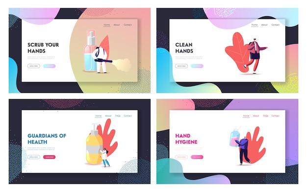Minúsculos personagens lavam as mãos com conjunto de modelos de página de destino desinfetantes de sabão antibacteriano.
