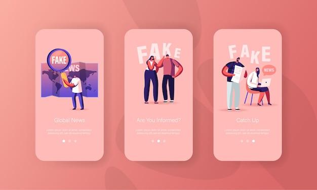 Minúsculos personagens leem o modelo de tela da página do aplicativo móvel fake news