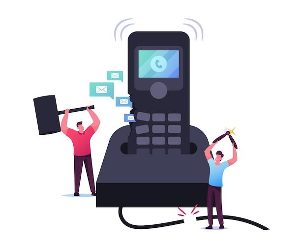 Minúsculos personagens masculinos destruindo um enorme telefone de chamadas
