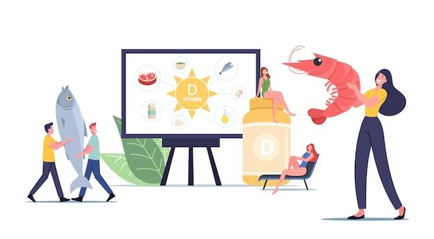 Minúsculos personagens masculinos e femininos apresentando fontes de vitamina d, frutos do mar, produtos naturais orgânicos e banhos de sol. suplementos nutricionais aditivos para a saúde. ilustração em vetor desenho animado