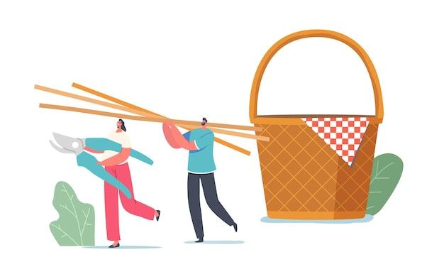 Minúsculos personagens masculinos e femininos carregam enormes palitos de palha ou bambu para tecer uma cesta de piquenique