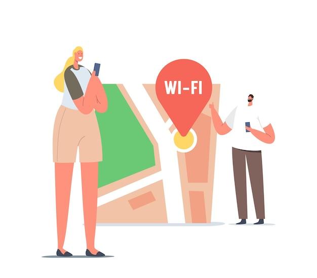 Minúsculos personagens masculinos e femininos com smartphones no enorme mapa com pino de wi-fi encontrando o caminho correto na cidade grande