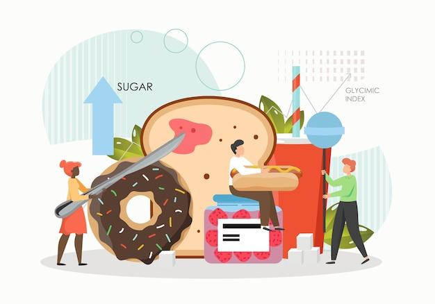 Minúsculos personagens masculinos e femininos comendo açúcar, doces e alimentos de trigo