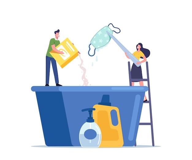 Minúsculos personagens masculinos e femininos derramam detergente em uma bacia enorme para lavar máscara reutilizável de tecido artesanal durante a pandemia de coronavírus
