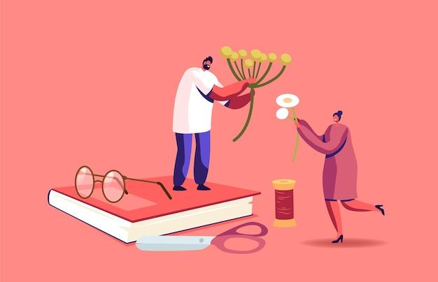 Minúsculos personagens masculinos e femininos fazendo composições de ervas e flores secas aparecem em livros enormes