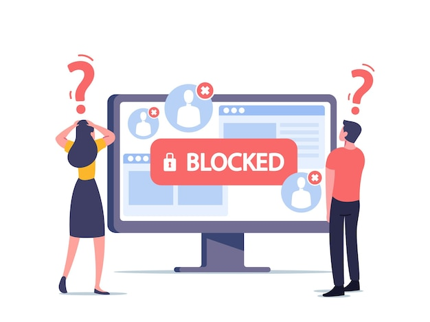 Minúsculos personagens masculinos e femininos no enorme monitor de computador surpreso com conta bloqueada na tela. hacker cyber attack, censorship or ransomware activity security. ilustração em vetor desenho animado
