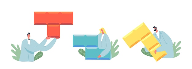 Minúsculos personagens masculinos e femininos vestindo manto médico segurando enormes peças do quebra-cabeça coloridas isoladas no fundo branco. ciências da psicologia, ajuda do doutor psicólogo. ilustração em vetor desenho animado