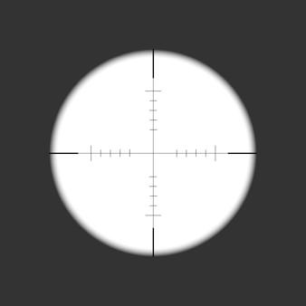 Mira rifle. objetivo da arma. modelo de vidro óptico.