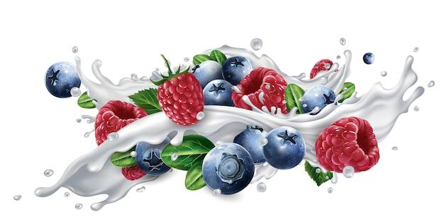Mirtilos e framboesas em um respingo de leite ou iogurte.