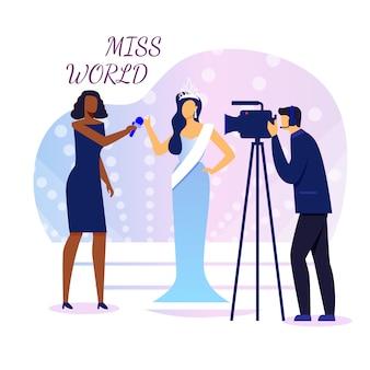 Miss mundo entrevista flat banner vector template