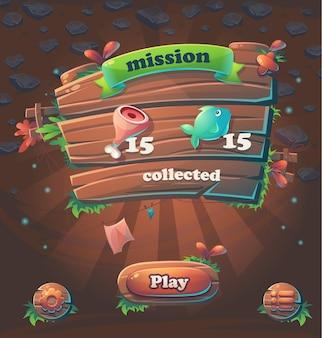 Missão coletada da janela da interface do usuário do jogo de madeira