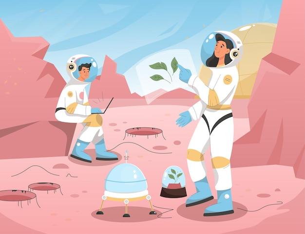 Missão de colonização da astronáutica da cena de marte