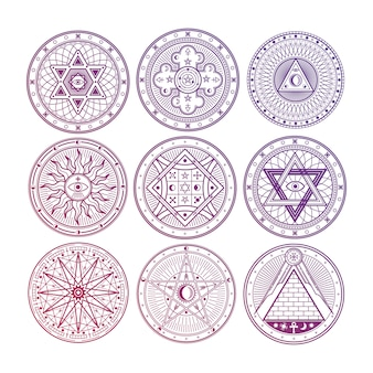 Mistério brilhante, bruxaria, ocultismo, alquimia, místicos símbolos esotéricos isolados no fundo branco