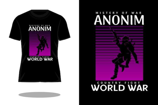 Mistério da guerra design de camiseta vintage silhueta anônima