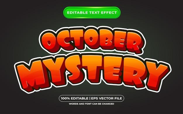 Mistério editável de efeito de texto de halloween e estilo de texto assustador