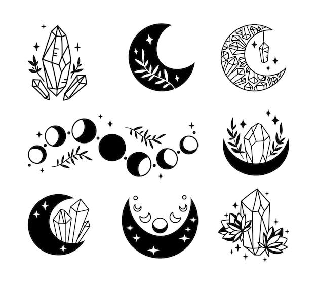 Mística boho floral lua isolada cliparts conjunto celestial coleção lua e flores