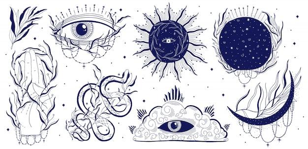 Místico, jogo, ilustração