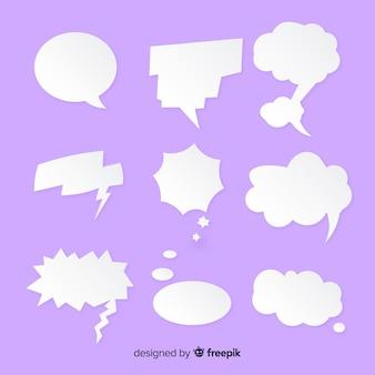 Mistura de bolha de discurso de estilo de papel plana