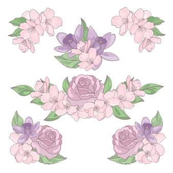 Mistura de flores coleção decorativa floral