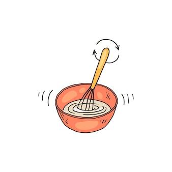 Mistura de ingredientes com batedor na tigela da cozinha