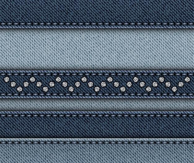 Mistura de listras horizontais de jeans