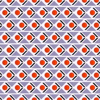 Mistura de padrão geométrico sem costura com listra de círculo triângulo no humor retrô horizontal