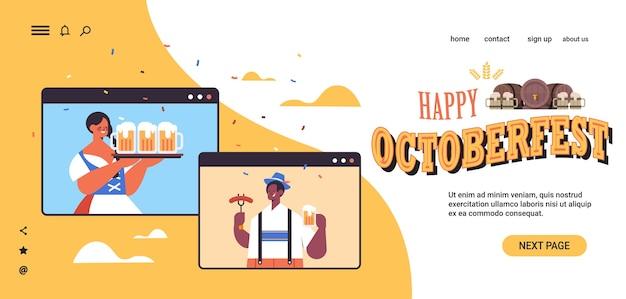 Mistura raça homem mulher segurando canecas de cerveja festa da oktoberfest