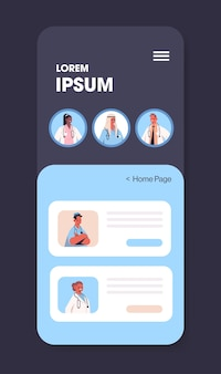 Misturar médicos de corrida consultando paciente em aplicativo de bate-papo móvel consulta online medicina medicina conselho médico