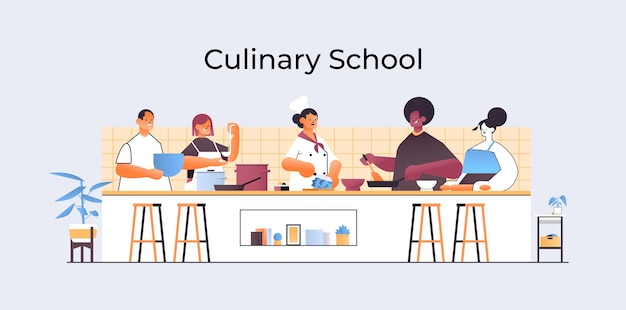 Misture chefs de corrida preparando pratos pessoas cozinhando comida culinária escola conceito cozinha interior horizontal retrato ilustração