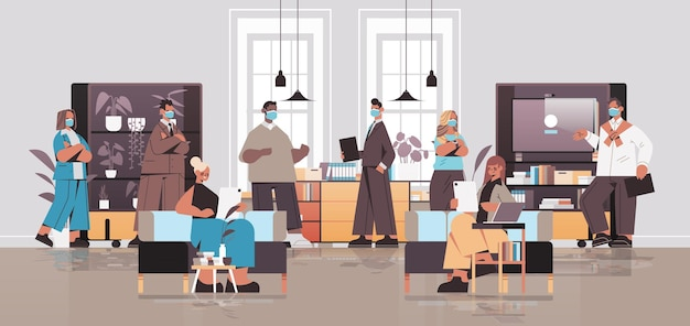 Misture corrida de empresários com máscaras trabalhando e conversando no conceito de trabalho em equipe reunião de negócios do centro de coworking