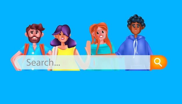 Misture corrida de pessoas com a barra de pesquisa pesquisando navegando na internet conceito de rede de dados ilustração vetorial retrato horizontal