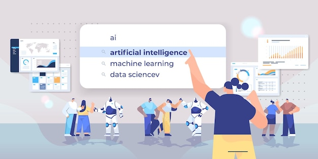 Misture corrida de pessoas e robôs escolhendo ai na barra de pesquisa na tela virtual