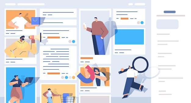 Misture corrida de pessoas em janelas de navegador da web usando aplicativos de computador ilustração vetorial horizontal de conceito de marketing digital