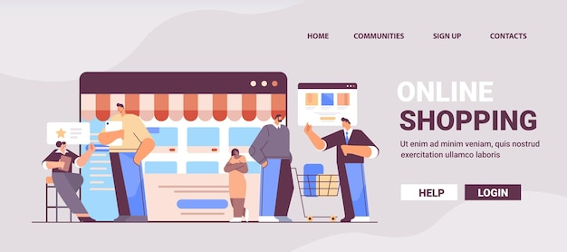 Misture corrida pessoas usando aplicativo de compras on-line em dispositivos digitais, homens, mulheres, comprando e solicitando produtos